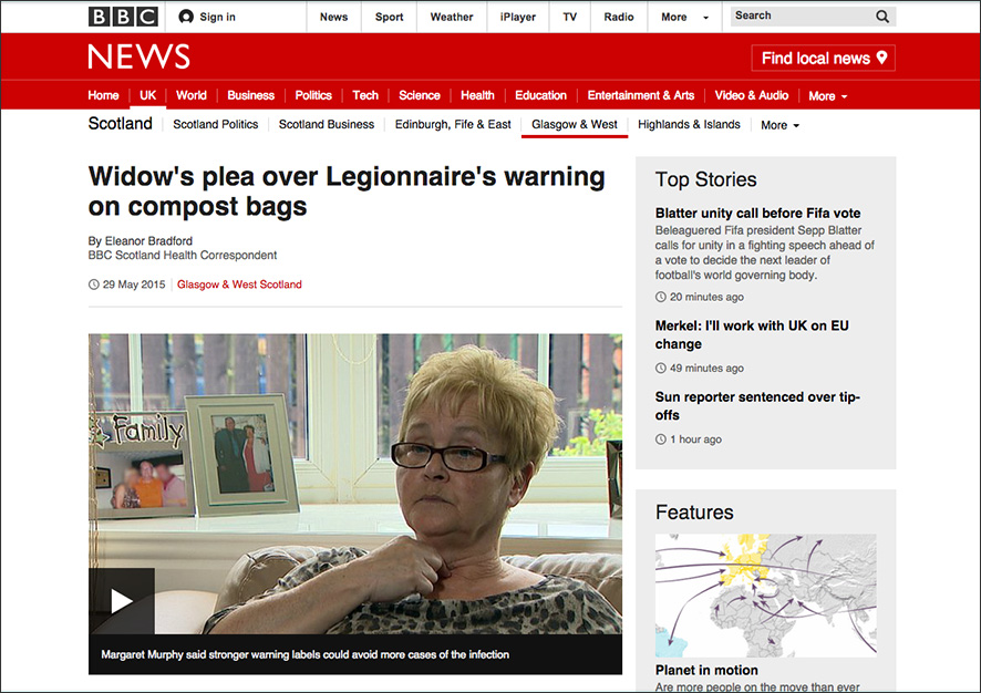 BBC News: Widow's plea over Legionnaire's warning on compost bags