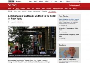 Legionnaires disease outbreak in New York